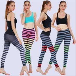 46ee610072cbe In the summer Hot style stripe Gym clothes tight Geometric printed yoga  pants movement aerobics pants Free shipping