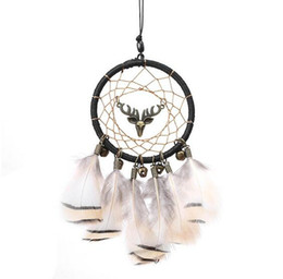 Indian Feather Home Design Handmade Dream Catcher con Rattan Bead Feathers Wall Car Hanging Decorazione Ornamento GA718 da perline di parete pendente fornitori