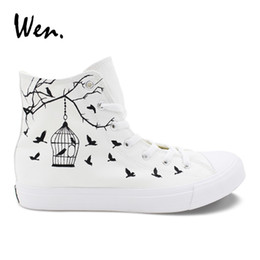 Wen Canvas Casual Flats White Women Design Bird Cage Hand Painted Shoes  Custom Strappy High Top Men Sneakers Outdoor Espadrilles  194899 cheap canvas  shoe ... bbfe6731efee