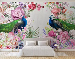 peacock wallpaper 3d Coupons - 3d wallpaper custom mural silk wall sticker 3 d TV setting wall fashion Modern art hand drawn peacock flowers photo 3d wall murals wallpaper