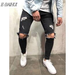 2019 männer holey jeans E-BAIHUI Herren Distressed Ripped Biker Jeans Slim Fit Stretch Jeans Markendesigner Herren Motorrad Biker Denim Fashion Herren Jeans 11098