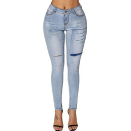7b060ed6ec0e Womens Plus Size High Waist Skinny Jeans Distressed Patchwork Ribbed Holes Long  Pencil Pants Washed Solid Color Casual Slim Trou