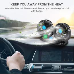 ventilador de enfriamiento 12 Rebajas 12 V 360 Grados All-Round Ajustable Auto Ventilación Automática de Aire Ventilador de Doble Cabeza Ventilador de Bajo Ruido Auto Ventilador Automático Ventilador de Aire Accesorios para Ventiladores