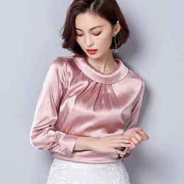 d3138844af968 silk blouses plus sizes Promo Codes - Women Blouses Spring Casual Silk  Blouse Loose Long Sleeve