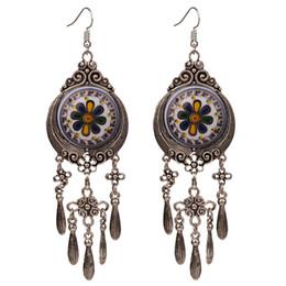 Lustre grande vintage on-line-4 Cores Bohemian Étnico Tribal Grande Gota Dangle Brincos Chandelier para As Mulheres New Vintage Indian Jóias