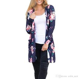 2019 sueter damas estampado floral Para mujer diseñador camisetas Flor Floral Impreso Cardigan Suéter de las mujeres con el paquete de manga larga Moda Casual Jumpers Ladies Knitwear