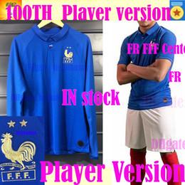 Jogador longo on-line-Jogador versão France FFF 100 anos camisa de manga comprida MBAPPE camisa centenária 2019 GRIEZMANN POGBA Centenaire Maillot 2019 camisa de futebol