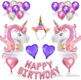 2019 globos de papel rosa 9 estilos Unicorn Balloons Purple Pink Latex Balloon Heart Foil Balloons para la fiesta de cumpleaños feliz decoraciones suministros conjunto globos de papel rosa baratos