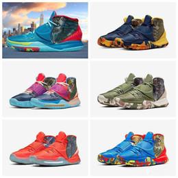 trajes de pieza de solapa delgada Rebajas 2020 Kyrie de precalentamiento Tokio NYC verde encantos afortunados zapatos calientes de las ventas de calidad superior Irving 6 zapatos de baloncesto de Cereales envío libre US7-US12