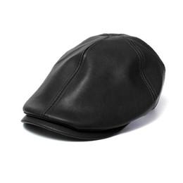 Колпачок для мальчиков онлайн-Clothes Mens Women Vintage cap unisex Leather Beret Cap Peaked Hat New boy girls Summer hats