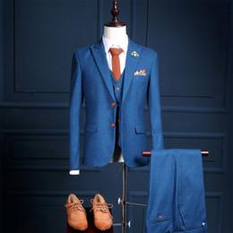 Costume vintage de mode bleu pour hommes 3 pièces Tweed Fleck 2 boutons de laine loisirs smokings de mariage sur mesure costumes pour hommes (vestes + gilets + pantalons) ? partir de fabricateur