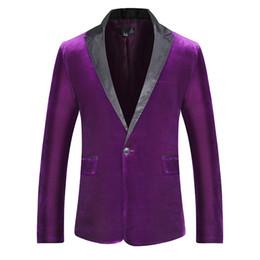 2019 Automne Hiver Doux Velours Pourpre Vin Rouge Mode De Mode Costume Veste De Mariée Chanteur Slim Fit Blazer Hombre Masculino ? partir de fabricateur