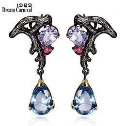 oro blu ciondola gli orecchini Sconti Dreamcarnival 1989 Purple Blue Cz Earrings Ciondola Luxury Vintage Black Color oro Bijoux Pendientes Borla Bruiloft Brinco E08 J190517
