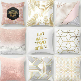 2019 carreaux de sol de chambre d'enfants 1 Pcs Or Brillant Imprimé Coton Lin Throw Taie D'oreiller Décoratif Home Room Oreiller Carré Couverture Cas Dans La Couverture Stickers 45x45 cm