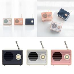 Mini haut-parleur bluetooth rose en Ligne-Haut-parleur Bluetooth rétro Vintage Mini nostalgique Basse lourde 3D Stéréo Surround Effets sonores HiFi Rose Blanc Bleu Léger
