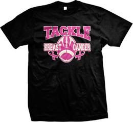 2019 camisa rosa de futebol t Tackle Breast Cancer Football Rosa Inspiração Motivação Mens T-shirt Das Mulheres Dos Homens Unisex Moda tshirt Frete Grátis preto camisa rosa de futebol t barato