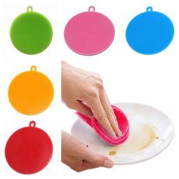 Escova limpa limpador pan on-line-Multifunções Silicone Escova de Limpeza Da Bacia Colorido Escova de Limpeza Mágica Pote Escova de Lavagem Pan Escovas De Limpeza Da Cozinha Ferramentas de Limpeza TTA781