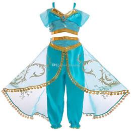 2019 cartoon fantasia vestido para meninas Crianças roupas de grife meninas Aladdin Lâmpada Jasmine Princesa roupas crianças Cosplay Traje Dos Desenhos Animados Crianças Fancy Dress Roupas C6811 cartoon fantasia vestido para meninas barato