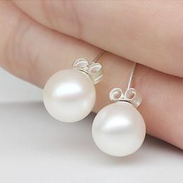 Argentina joyería de moda de agua dulce de color blanco perla rosa 6 / 8mm linda perla de moda del perno prisionero Earing para los regalos de Navidad partido de las mujeres Suministro