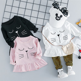 d95b588ea66d 2pcs WLG girls spring clothes baby girl cartoon cat printed dress and  striped pant set kids casual clothes 12-36 months