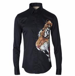 Tigre de algodão 3d on-line-Camisa dos homens s Cabeça de Tigre 3d Digital Camisa de Impressão Homem de Algodão Fino camisa de Ventilação dos homens
