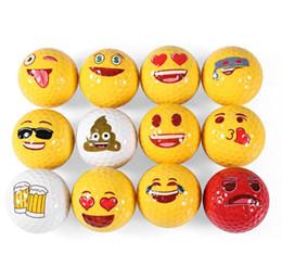 neuheit golfbälle Rabatt 12 stücke Golf Ball Emoji Lustige Nette Golf Ball Zubehör Geschenk Gummi Surlyn für Golf Spiel Training Kinder Golfer