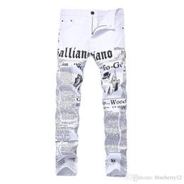 2019 jornal de algodão Homens Jeans Robin calças estilo Inglês jornal impresso Cotton alta Elastic Demin Casual Pants Para Vendas desconto jornal de algodão
