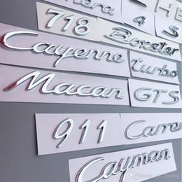 logotipos para pára-brisa do carro Desconto Panamera Boxster Cayman Cayenne Macan 911 Carrera Turbo GTS S 4 718 Número Letter ABS plásticos traseira cauda Tronco emblema autocolante Decal