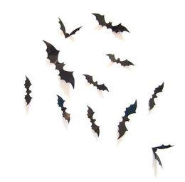 12Pcs / set GB1155 Wall Sticker Halloween decorazione 3D PVC nero Bat decorazione di DIY Halloween Party Bar Stickers spaventoso Halloween Party da
