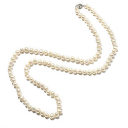 7-8 mm Long and thin Inch Natural Chain Type Necklace add Small and Exquisite Freshwater beads cheap add long от Поставщики добавить долго