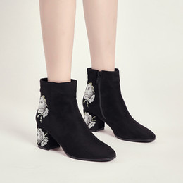 2ca43278aab5 boots women flowers shoes woman zipper korean style lwo heel pointed toe  botte 2018 martin booties cotton botas new arrival