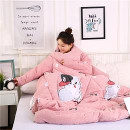 Edredão de inverno preguiçoso com mangas cobertor manto capa Nap cobertor manto de dormitório coberto cama colcha #XTN de Fornecedores de edredom rainha rosa