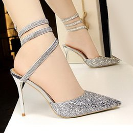 5489a80e514 Fantastic Bling Bling Crystal Shoes pointed Toes Wedding Shoes Sequins Thin High  Heel Pumps dress sandals shoes