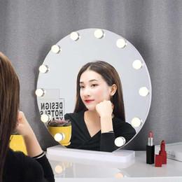 2019 mesas laterais espelhadas atacado Rodada tamanho grande espelho de maquiagem com led mesa de vestir espelho hd web celebridade live lilght enchimento ins princesa espelho