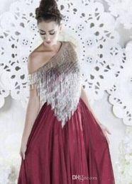 Vestidos de noite vinho tinto prata on-line-2019 New Wine Red Evening Dresses Silver Tassels Asymmetrical Neckline Chiffon Floor-Length Prom Party Dresses vestido de formatura