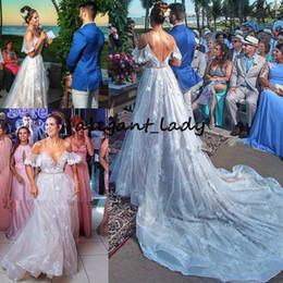 f63d458cae Modest Beach Princess Wedding Dresses 2019 Off Shoulder Fairy Lace 3D  Floral Sweep Train Outdoor Garden Wedding Birdal Gown