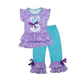 conejito camisa niños Rebajas Ropa de niñas Patrón de conejito encantador Camisetas + Pantalones 2 UNIDS Colorido Ruffle Polka Dot Pantalones Niños Ropa Set