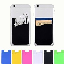 Telefon-Kartenhalter-Silikon-Handy-Mappen-Kasten-Kredit-ID-Kartenhalter-Pocket-Stick auf 3M-Klebstoff mit OPP-Beutel von Fabrikanten