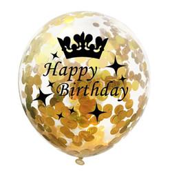 luci del tè del cuore Sconti Birthday Party Decor figli adulti 40 ° 50 ° 30 40 50 compleanno elio BALLONS Buon compleanno mongolfiera Numero Crown Confetti palloncini