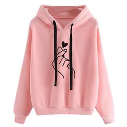 amar chándales rosa Rebajas Sudaderas Sudaderas con capucha Mujer 2019 Pink Love Heart Finger Print Con capucha Cordón Manga larga Primavera Chándal Streetwear