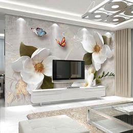 Telones de fondo de mariposa online-Custom 3D Wall Murals Wallpaper Estilo Europeo Retro Flower Butterfly Wallpaper para la sala de estar TV Telón de fondo Mural de la pared