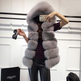 Maglia con cappuccio in pelliccia online-Senza maniche Faux Fur Vest Inverno tuta sportiva casuale femminile Solid falso con cappuccio in pelliccia Cappotti Per Lady 2018 Fashion Vest Femme