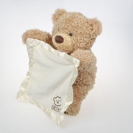 Argentina Peek a Boo Teddy Bear Jugar Hide and Seek Stuffed Kids Birthday Gift 30 cm Cute Music Bear Plush Toy con bolsa de compras supplier bear toy for birthday Suministro