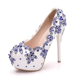 8f80f6d556 14 cm high heels foreign trade large size waterproof platform single shoes  women's fine with round head water drill wedding shoe