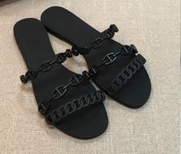 H sapatos on-line-Designer de luxo sapatos femininos Sandálias Rivage Em Poliuretano Termoplástico Com Chaine D'Ancre Motivo Strappy Silhouett H chinelos COM CAIXA