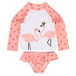 costume rosa della pelle Sconti Gilrs Swimsuit Pink Flamingo Printed Two Piece Set Rash Guards Costumi da bagno Shorts manica lunga Dive Skin Protezione solare 1-7Y Kids