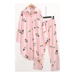 ef1f43492f gray blue sets super soft double flannel women pajamas autumn winter long  style home clothes print pineapple for 50-110kg