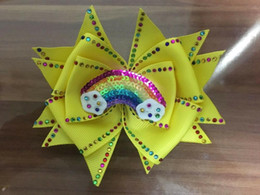 "Mariposa brillante online-50 Chica 4.5 ""Shine Butterfly Hair Bow Rhinestone Rainbow Surprise Doll"