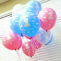 2019 111 globos 12 pulgadas de Látex Globo Libre Número 1 Globo de Impresión Látex Globo Bebé Cumpleaños Fiesta de Cumpleaños Decoración Regalo Al Por Mayor