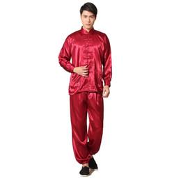 Camisa tradicional china roja online-Rojo tradicional chino hombres Rayon Kung Fu Tai Chi traje camisa de manga larga uniforme Conjuntos de pantalón S M L XL XXL M048